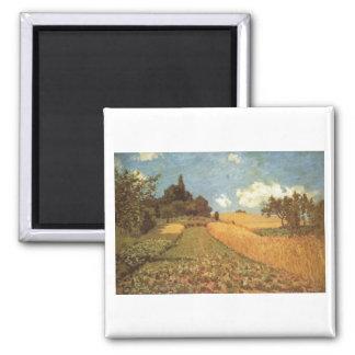 Alfred Sisley Kornfeld 1873 - Cornfield Oil Square Magnet