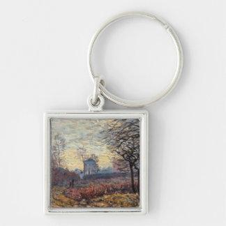 Alfred Sisley | Landscape near Louveciennes Silver-Colored Square Keychain