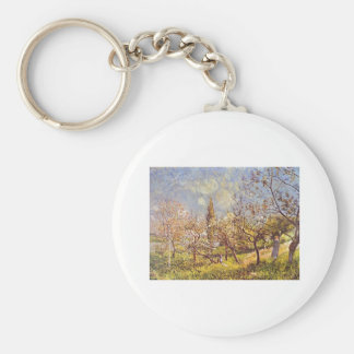 Alfred Sisley - Orchard in spring. 1881 Oil Canvas Basic Round Button Keychain