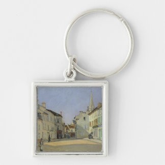 Alfred Sisley | Rue de la Chaussee at Argenteuil Silver-Colored Square Keychain