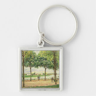 Alfred Sisley | Street of Spanish Chestnut Trees Silver-Colored Square Keychain