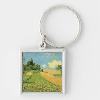Alfred Sisley | The Cornfield Silver-Colored Square Keychain