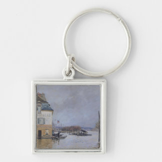 Alfred Sisley | The Flood at Port-Marly Silver-Colored Square Keychain