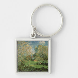Alfred Sisley | The Garden of Hoschede Family Silver-Colored Square Keychain