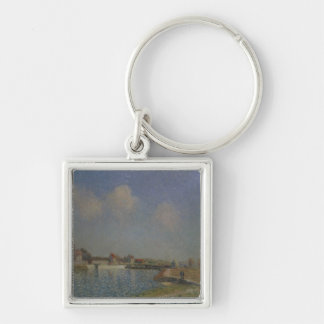 Alfred Sisley | The Loing at Saint-Mammes Silver-Colored Square Keychain