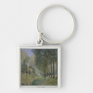 Alfred Sisley | The Rest by the Stream Silver-Colored Square Keychain