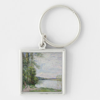 Alfred Sisley | The Riverside Road from Veneux Silver-Colored Square Keychain