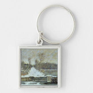 Alfred Sisley | The Watering Place at Marly-le-Roi Silver-Colored Square Keychain