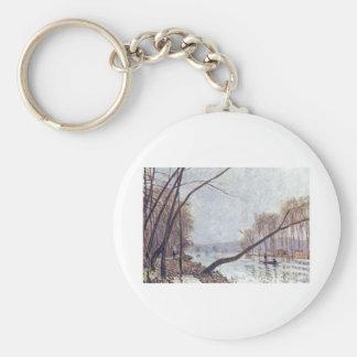 Alfred Sisley - Ufer der Seine im Herbst 1879 oil Basic Round Button Keychain