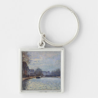 Alfred Sisley | View of the Canal St-Martin, Paris Silver-Colored Square Keychain