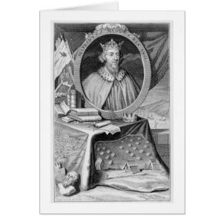 Alfred the Great (849-99) King of Wessex, engraved Card