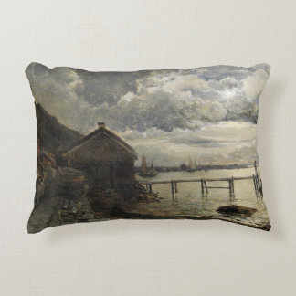 Alfred Wahlberg - Moonlight, Fjallbacka Decorative Pillow