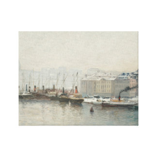 Alfred Wahlberg - Winter Landscape Over Skeppsbron Canvas Print