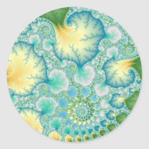 Algae - Fractal Round Sticker