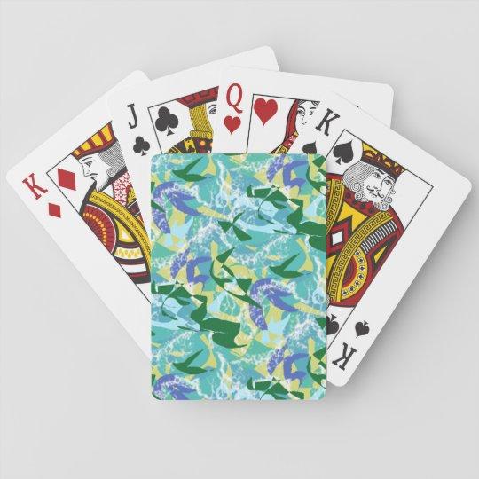 Algae Seaweed Ocean Sea Blue Green Water Nautical Playing Cards