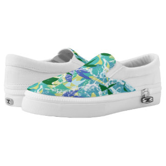 Algae Seaweed Ocean Sea Blue Green Water Nautical Slip-On Sneakers