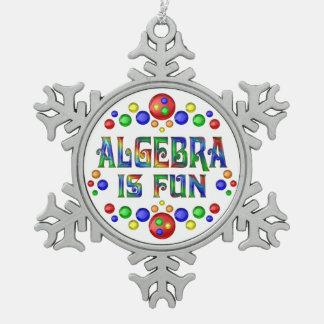 Algebra is Fun Snowflake Pewter Christmas Ornament
