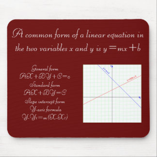 Algebra Linear Equation Formula Mouse Pad