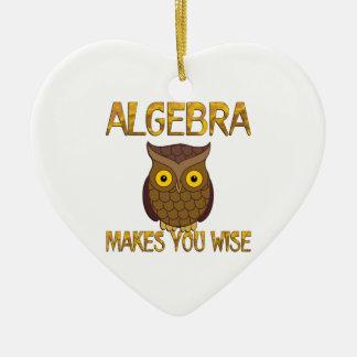 Algebra Makes You Wise Ceramic Heart Ornament