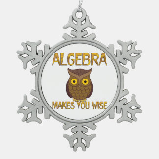 Algebra Makes You Wise Pewter Snowflake Ornament