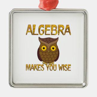 Algebra Makes You Wise Silver-Colored Square Ornament