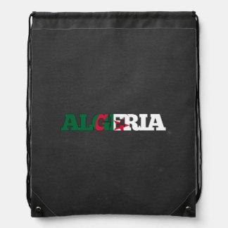 Algeria flag font drawstring bag