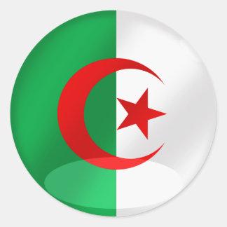 Algeria round flag with chrome like reflections classic round sticker