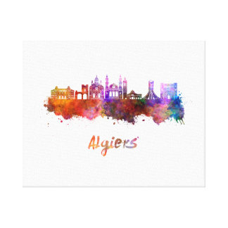 Algiers skyline in watercolor canvas print