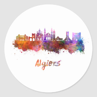 Algiers skyline in watercolor classic round sticker