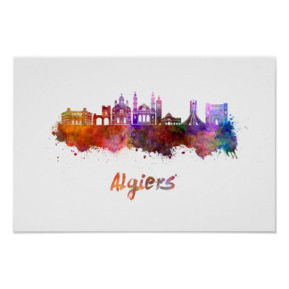Algiers skyline in watercolor poster