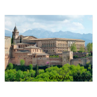 Alhambra postcard of Granada, in Spain