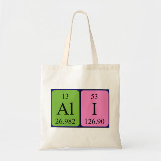 Ali periodic table name tote bag