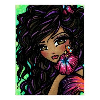 """""""Aliah"""" Hibiscus Mermaid Fantasy Art Postcard"""