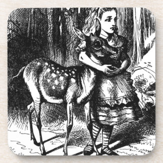 Alice and a Fawn Drink Coaster