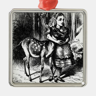 Alice and a Fawn Metal Ornament