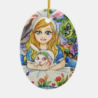 Alice and Bunny Ceramic Ornament