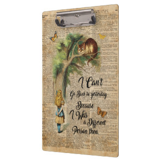 Alice and Cheshire Cat Quote Dictionary Art Clipboard