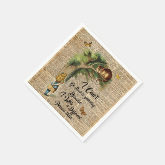 Alice and Cheshire Cat Quote Dictionary Art Disposable Napkin
