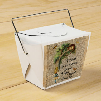 Alice and Cheshire Cat Quote Dictionary Art Favor Box