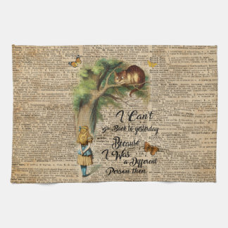Alice and Cheshire Cat Quote Dictionary Art Kitchen Towel