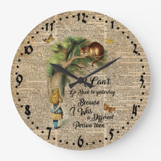 Alice and Cheshire Cat Quote Dictionary Art Large Clock