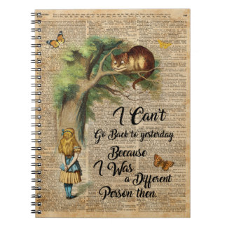 Alice and Cheshire Cat Quote Dictionary Art Notebook
