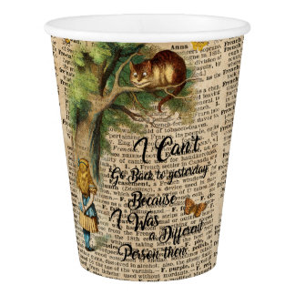 Alice and Cheshire Cat Quote Dictionary Art Paper Cup