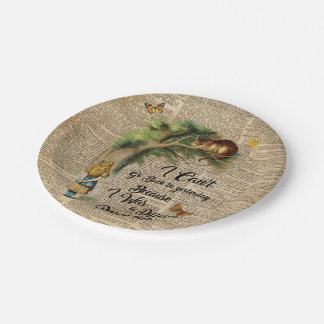 Alice and Cheshire Cat Quote Dictionary Art Paper Plate
