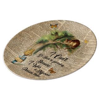 Alice and Cheshire Cat Quote Dictionary Art Plate