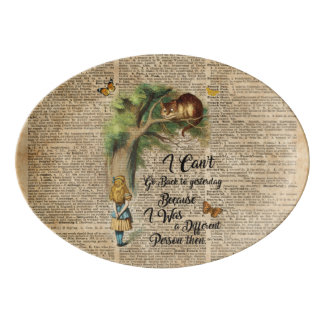 Alice and Cheshire Cat Quote Dictionary Art Porcelain Serving Platter