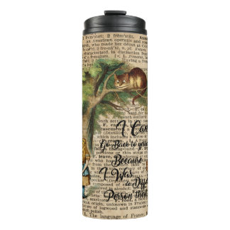 Alice and Cheshire Cat Quote Dictionary Art Thermal Tumbler