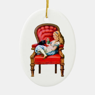 Alice and Dinah from Through The Looking Glass Ceramic Oval Ornament