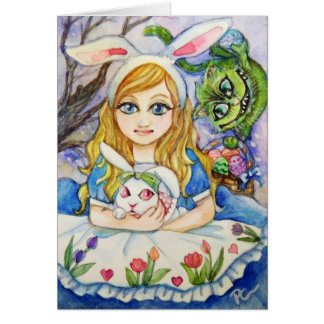Alice and Easter Bunny Card