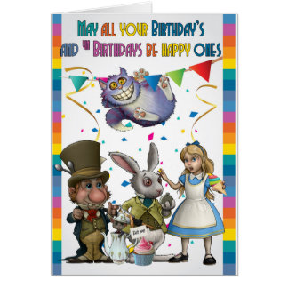 Alice And Friends, Mad Hatter, Cheshire Cat, Card
